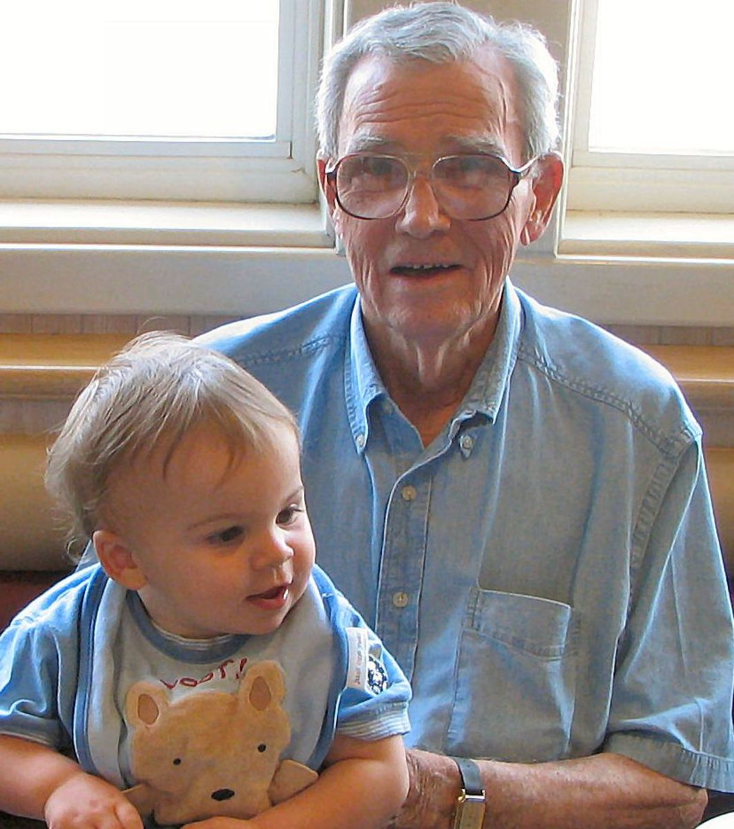 In loving memory of Henry W Britain, grandfather and great grandfather - shown here with great-grandson Ian