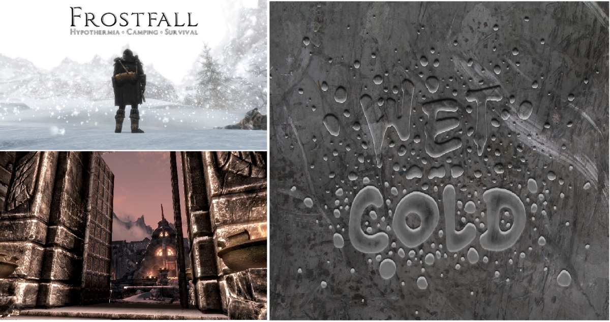 Top Immersion Skyrim mods including Frostfall, Wet and Cold and Open Cities.