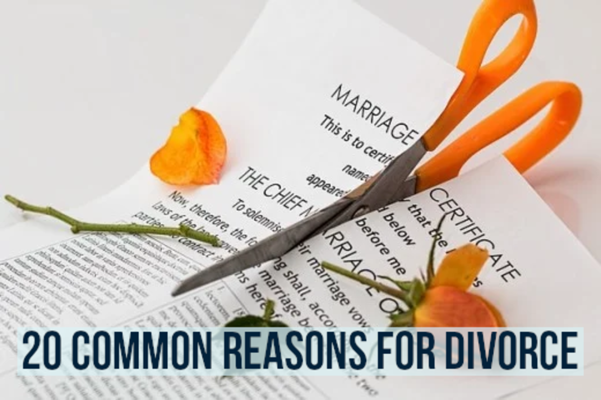Many weddings unfortunately end up in divorce.  Read on for my top 20 list of reasons for relationship failure...