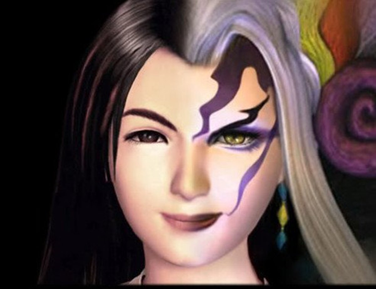 Rinoa Heartily's face (left) fused with Ultimecia's (right)
