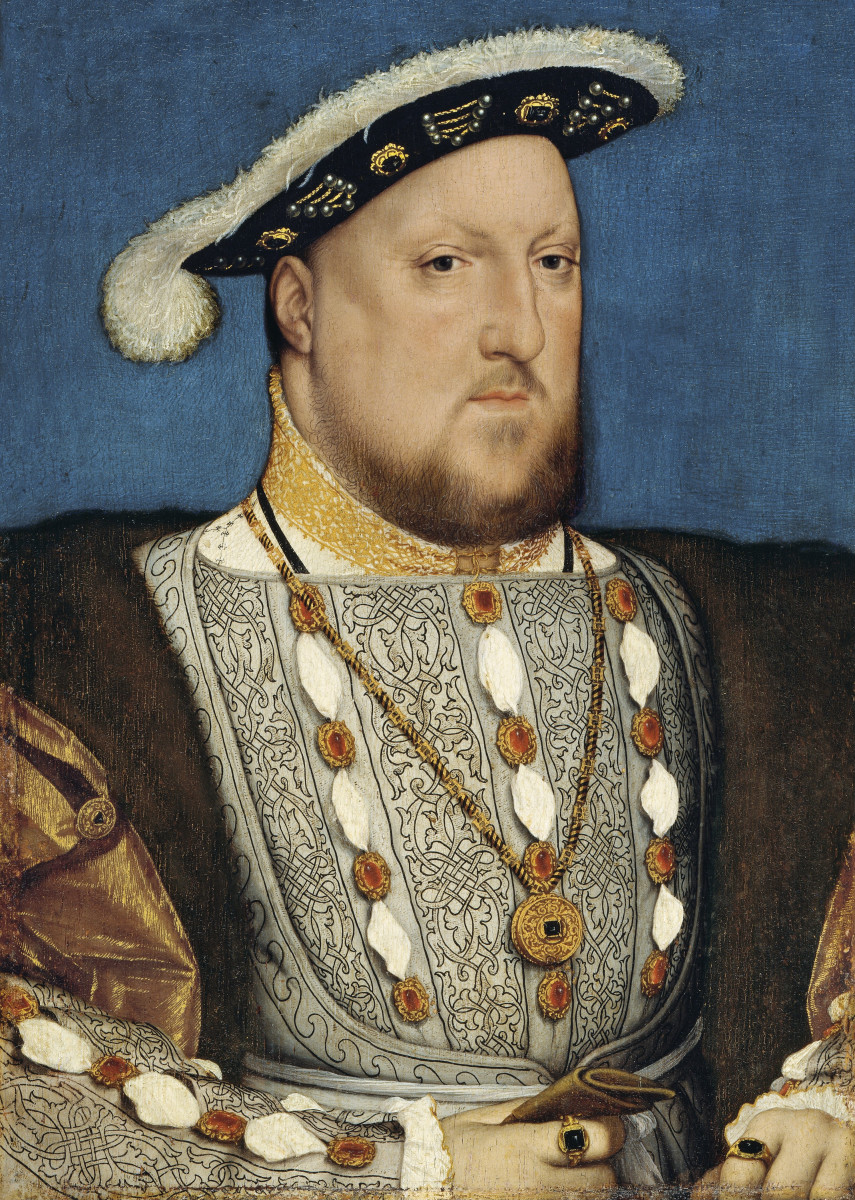 Portrait of Henry from around 1537, painted by Hans Holbein the Younger, a German artist famous for his portraits.  Around this time, Henry had Anne Boleyn executed for treasonous adultery and incest, and began his relationship with Jane Seymour.