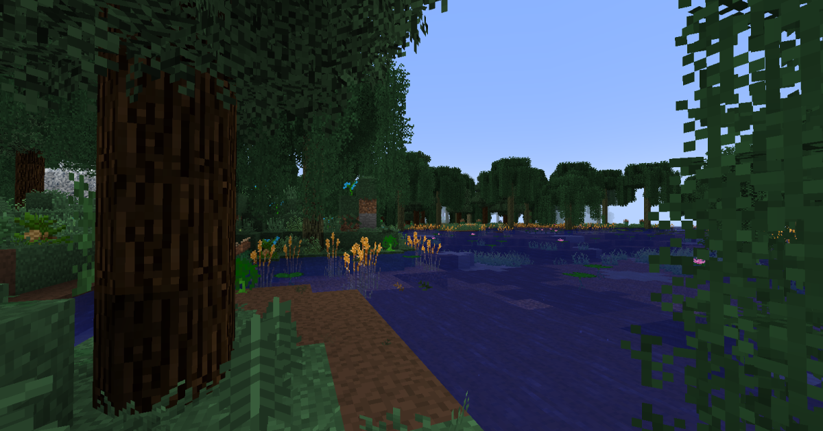 """This is an example of """"Minecraft"""" scenery that utilizes the Better Foliage mod."""
