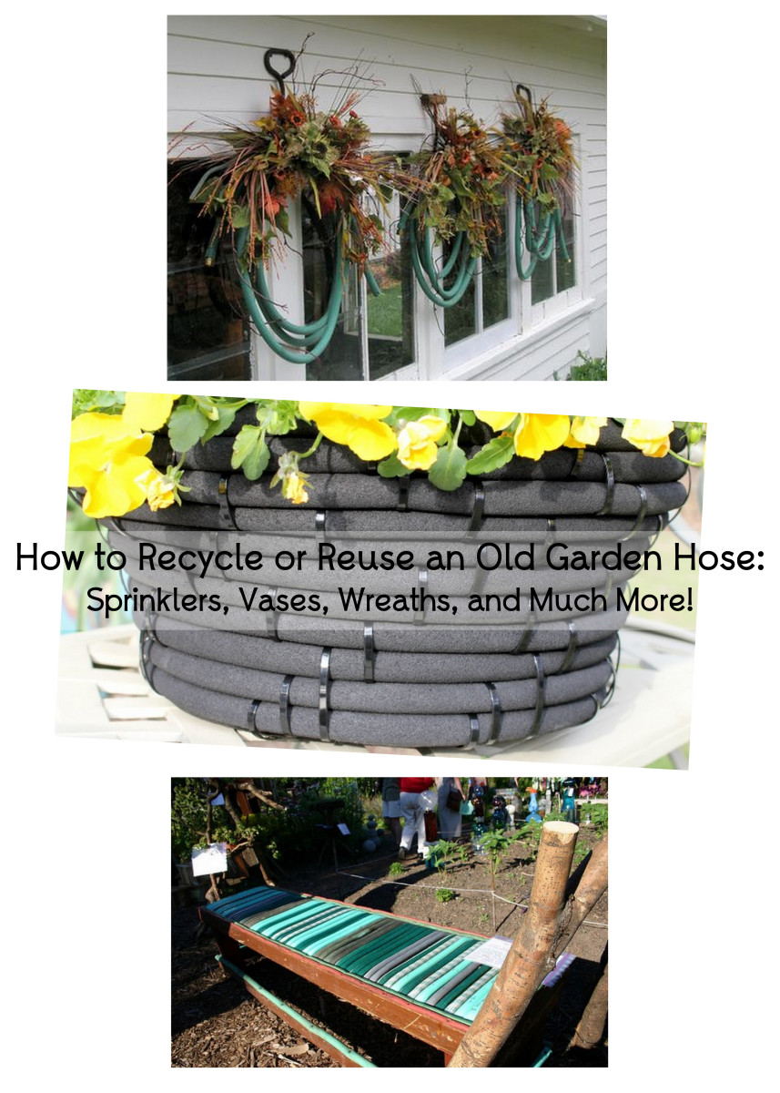 http://terryatkinson.typepad.com/atkinsondesigns/2010/10/saturday-decorations.html /  http://www.craftsalamode.com/2014/04/turn-old-garden-hose-into-flower-pot.html / http://www.gardeningchannel.com/6-ways-to-recycle-garden-hose