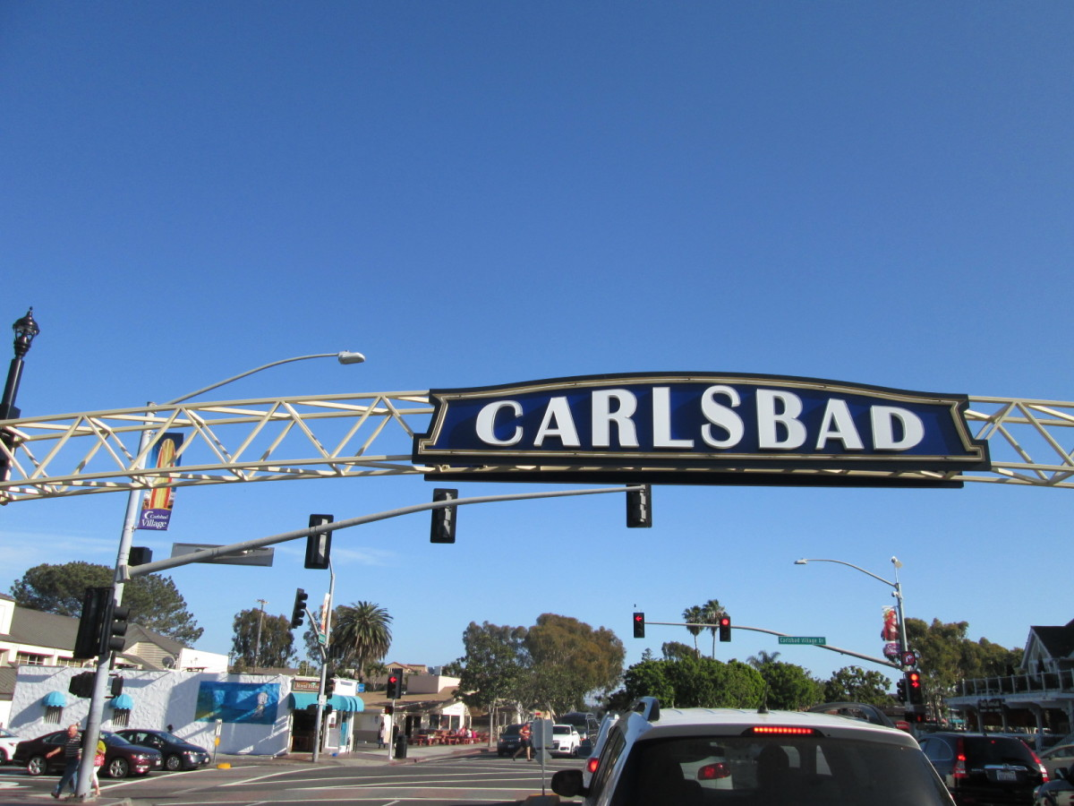 Carlsbad city sign along Carlsbad Blvd.