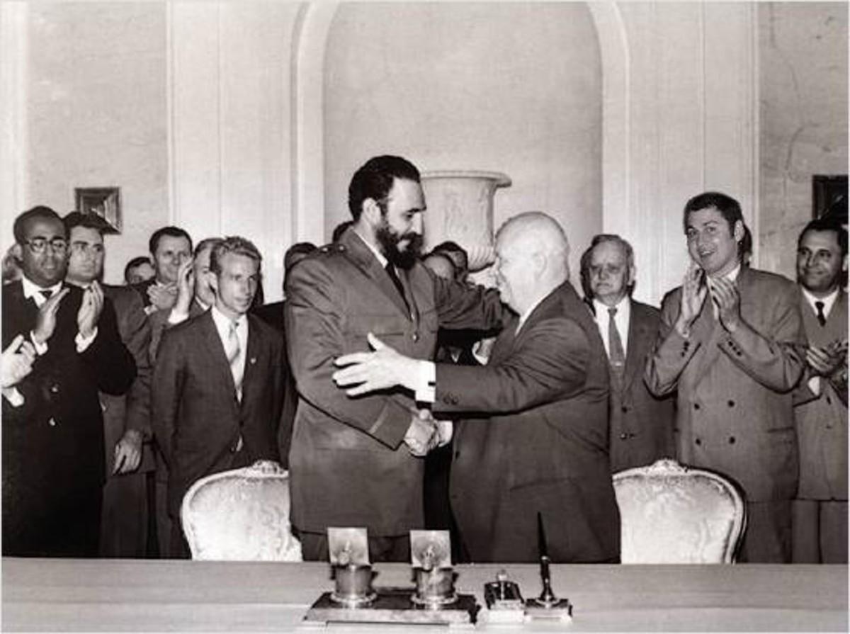 Cuban Leader Fidel Castro and Soviet Leader Nikita Khrushchev in Cuba, circa 1961.