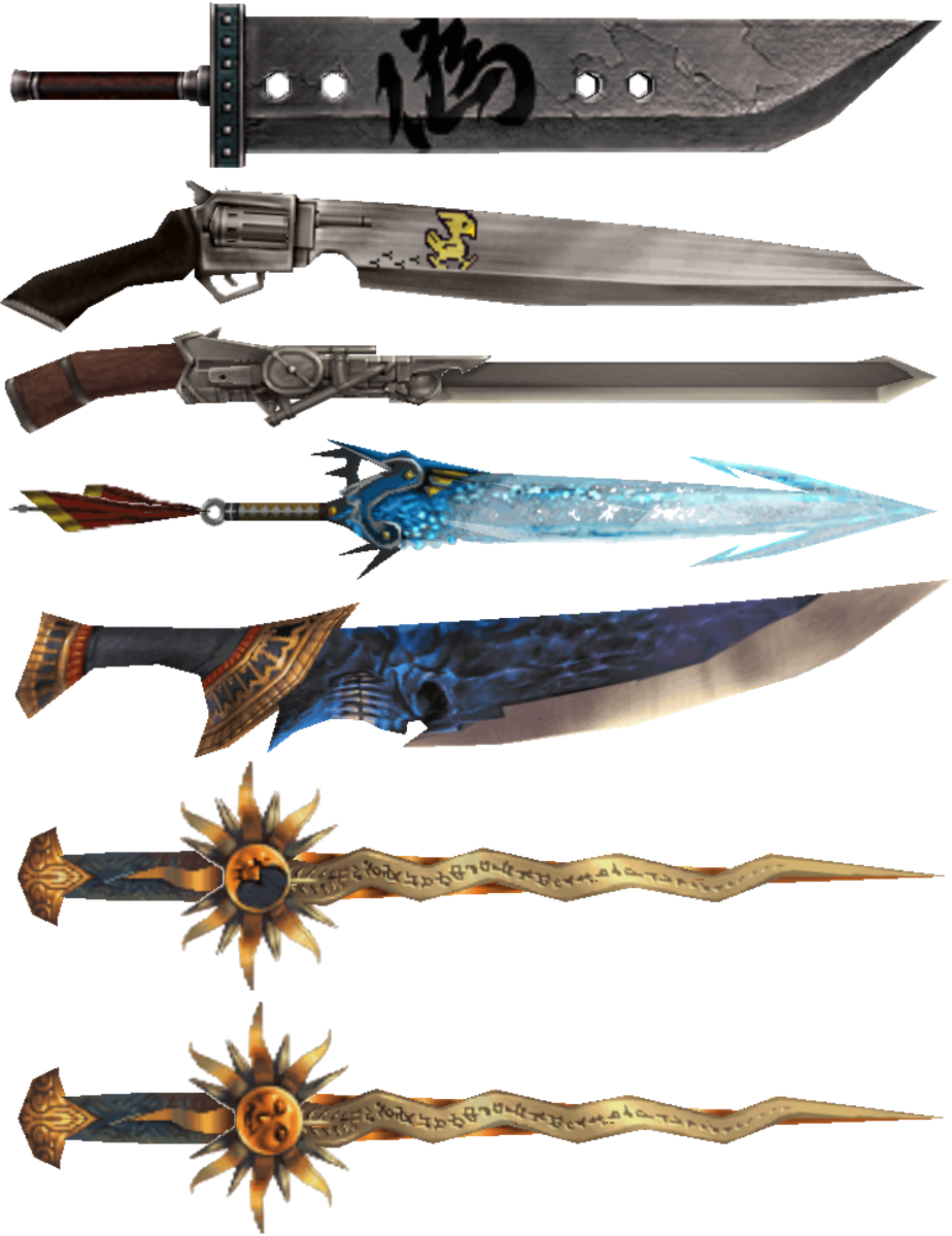 Many Final Fantasy swords