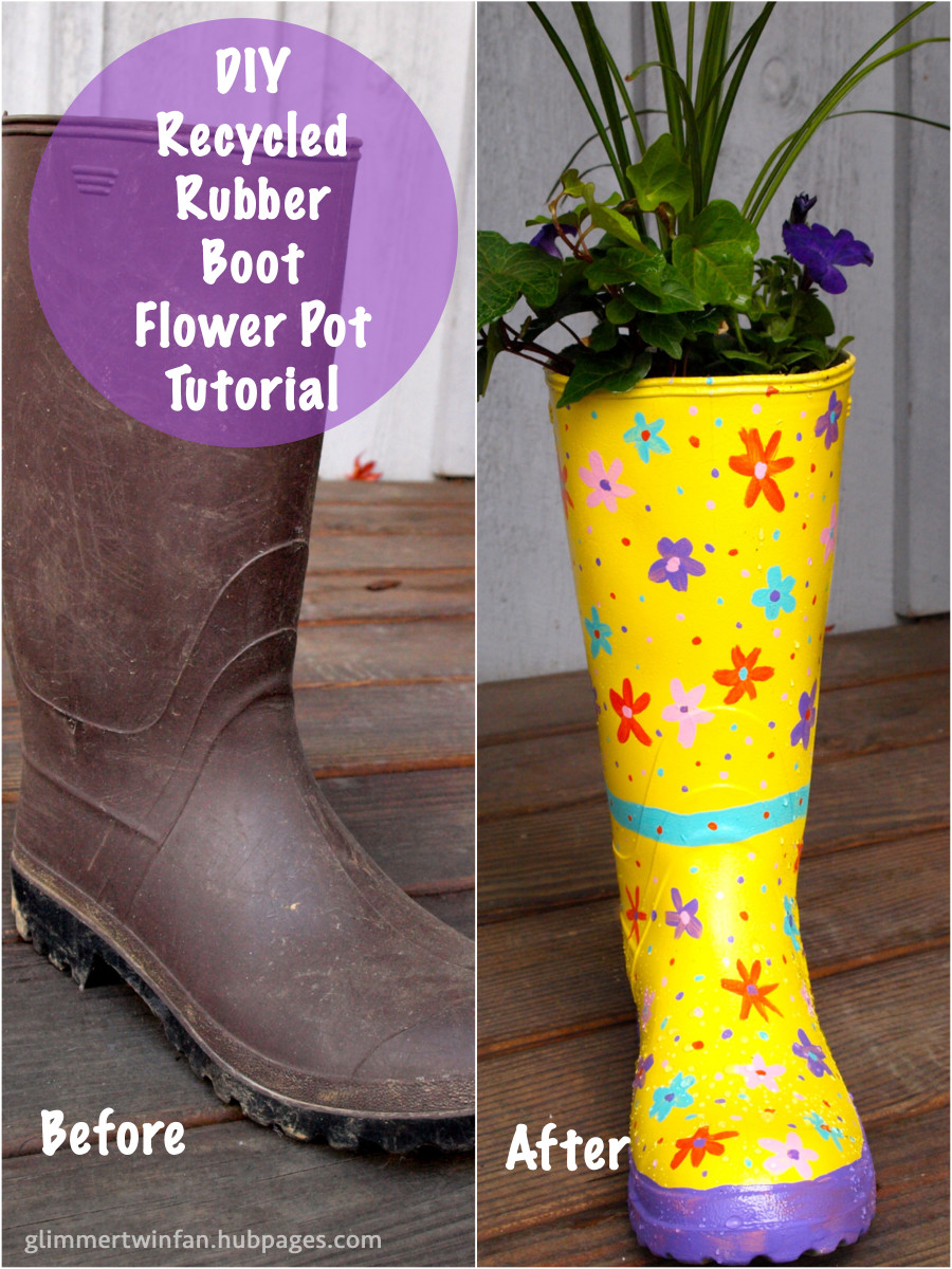 Turn your old rubber garden boot into a cute recycled flower pot with this DIY tutorial.