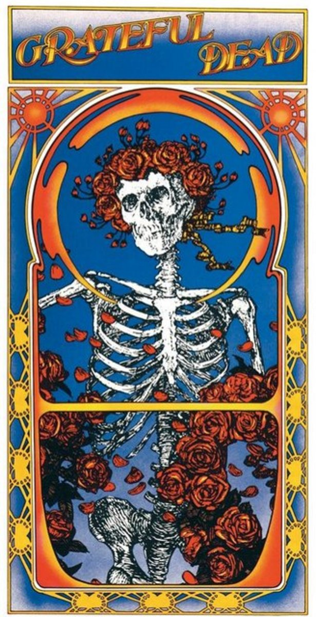 """Skull and Roses"" Open Gatefold Album Cover Art by Alton Kelley & Stanley Mouse"