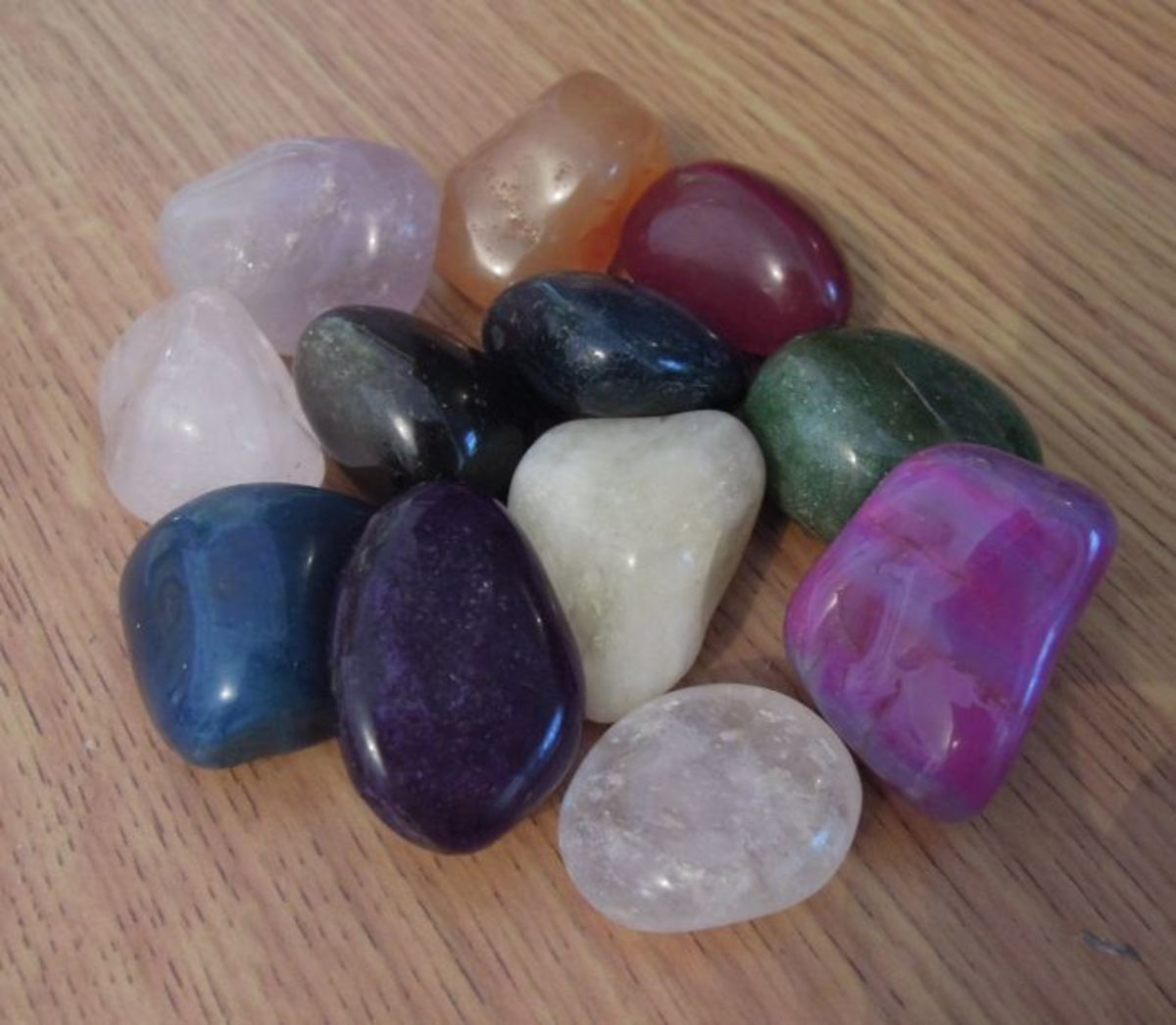 A selection crystals recharged and ready for healing, magic or energy work.