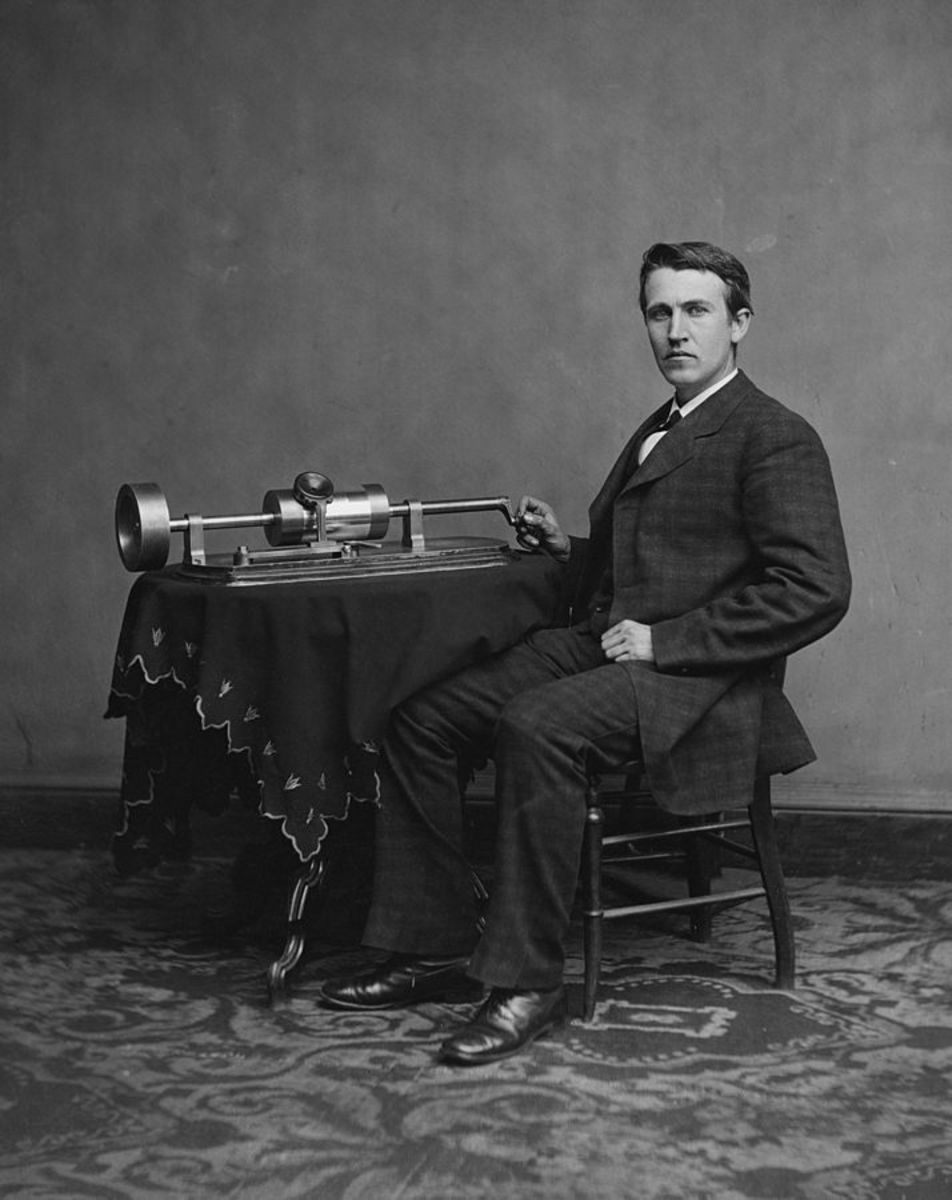Civil War photographer Mathew Brady took this photograph of Edison sitting by one of his inventions, the phonograph, in April 1878.