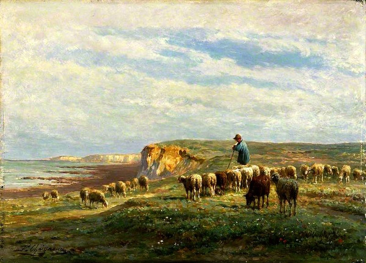 Villanelle poems were typically written about pastoral subjects such as in this painting titled Flock of Sheep