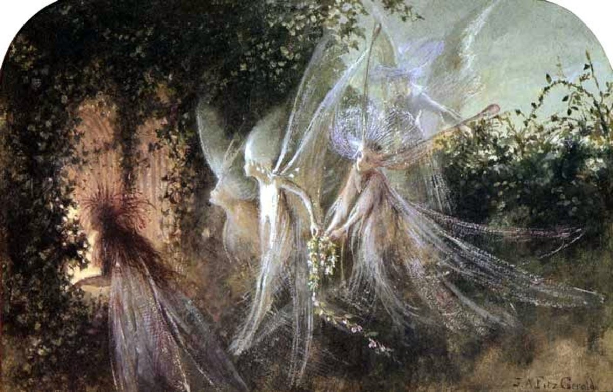 """Fairies Looking Through A Gothic Arch"" by John Anster Fitzgerald 19th century"