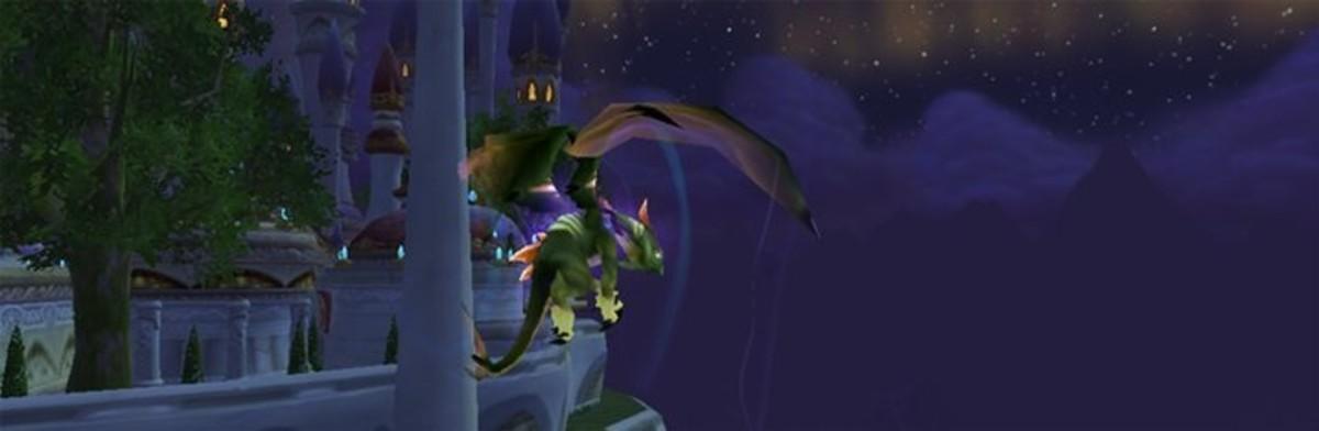A Netherwing Drake reputation mount in flight.