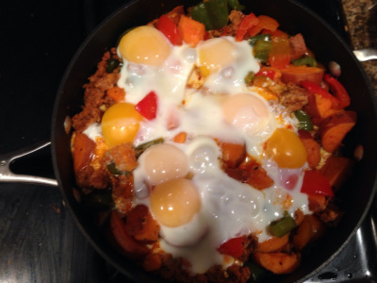 Spicy Breakfast Hash With Chorizo, Eggs, and Sweet Potatoes