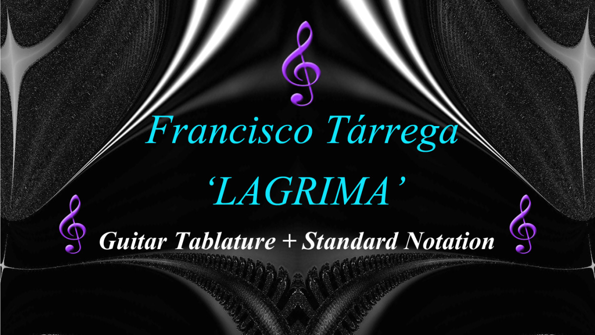 Lagrima by Francisco Tárrega: Classical Guitar - Tab and Standard Notation