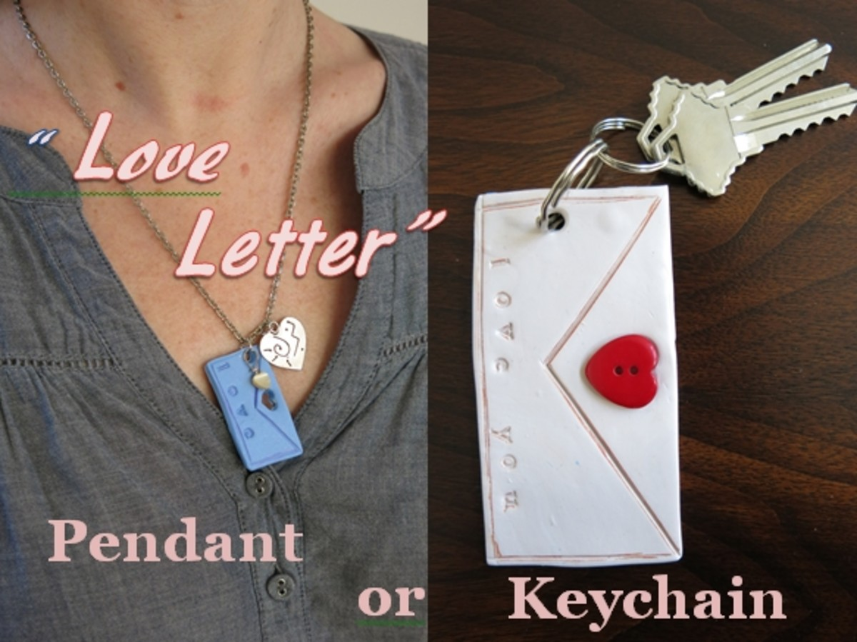 """DIY Jewelry Tutorial:  """"Love Letter"""" Polymer Clay Pendant or Key Chain"""