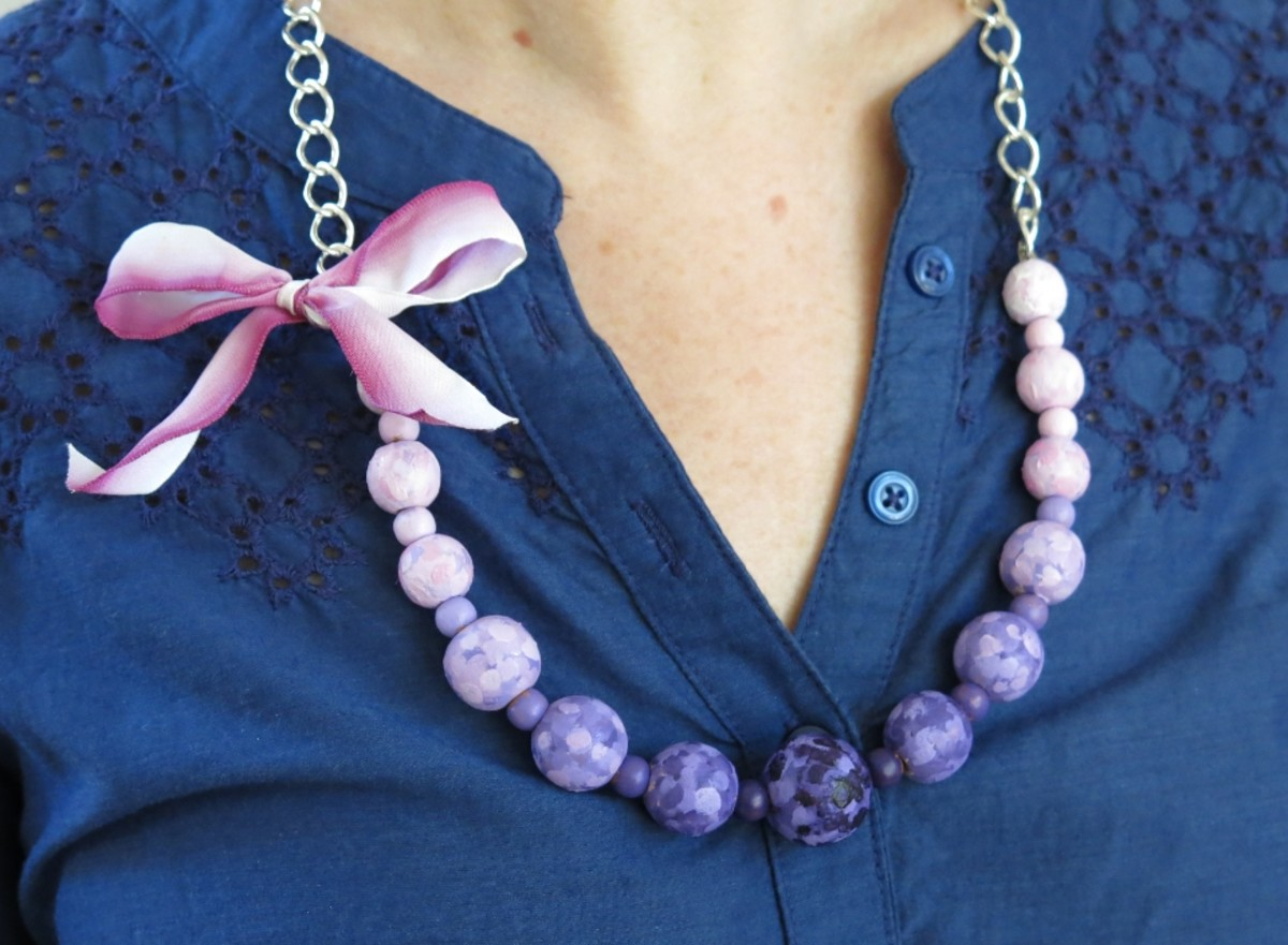 DIY Jewelry Tutorial:  How to Handpaint Beads to Make a Colorful Statement Necklace