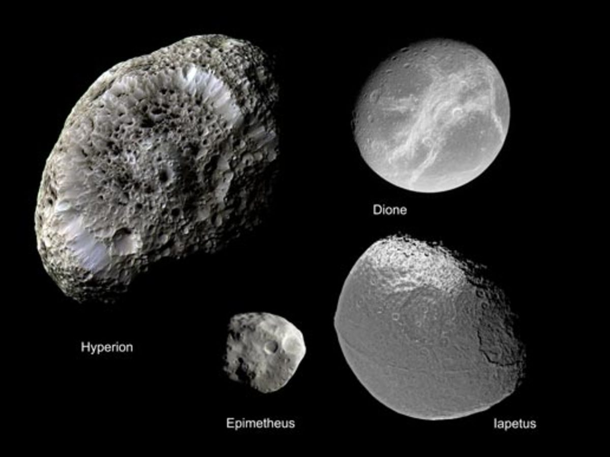 Cassini's Discoveries and Flybys of Phoebe, Hyperion, Dione, and Other Saturn Moons