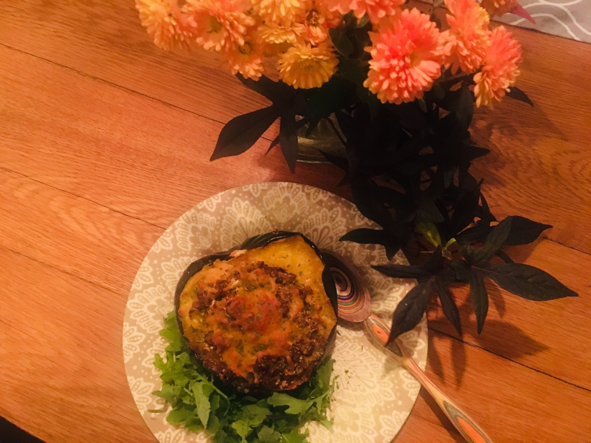 Stuffed autumn acorn squash.
