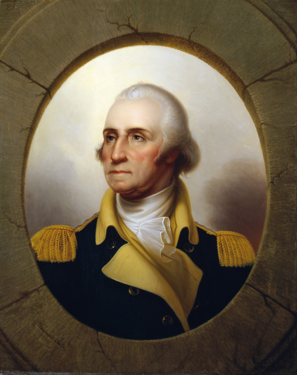George Washington by Rembrandt Peale, De Young Museum (ca. 1850).  Washington was the first president of the United States, Commander-in-Chief of the Continental Army during the American Revolution, and a Founding Father of the country.