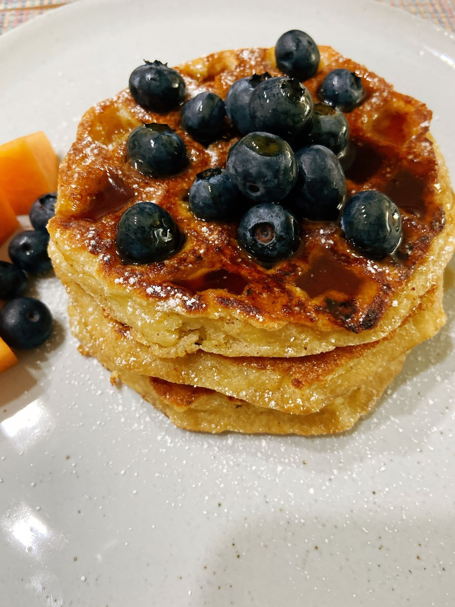 Yummy waffle French toast. Crispy on the outside and soft on the inside. It's become a family favorite!