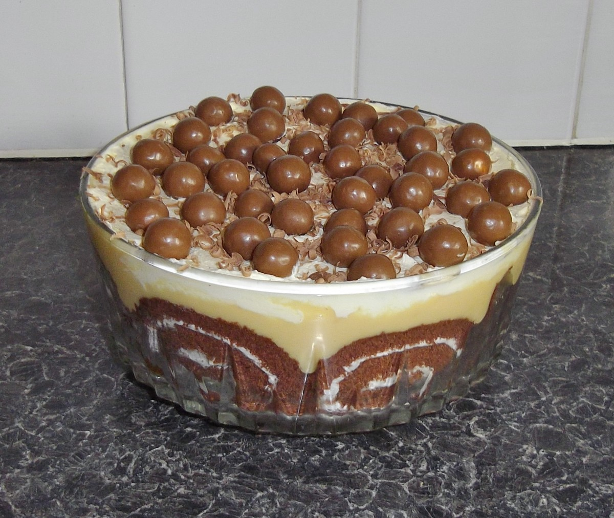 This Chocolate Malteser Trifle looks and tastes amazing.