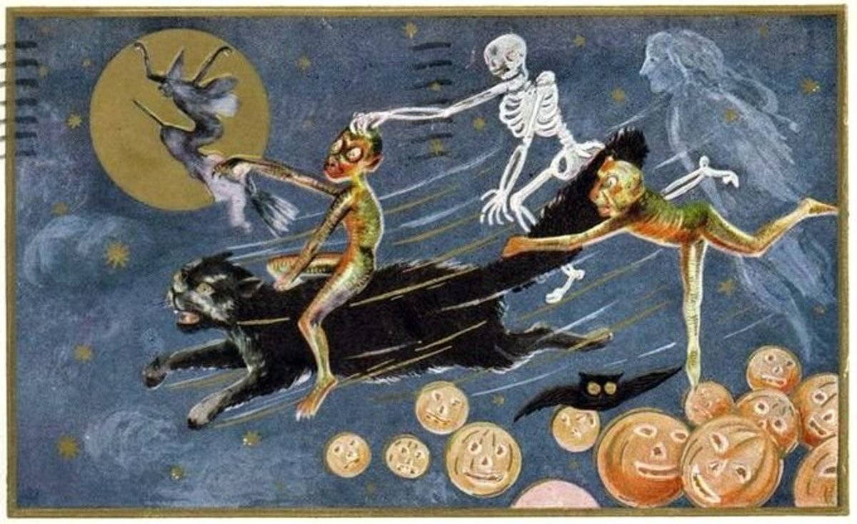 Familiar and other sinister spirits riding with the witch, on a vintage Halloween postcard.