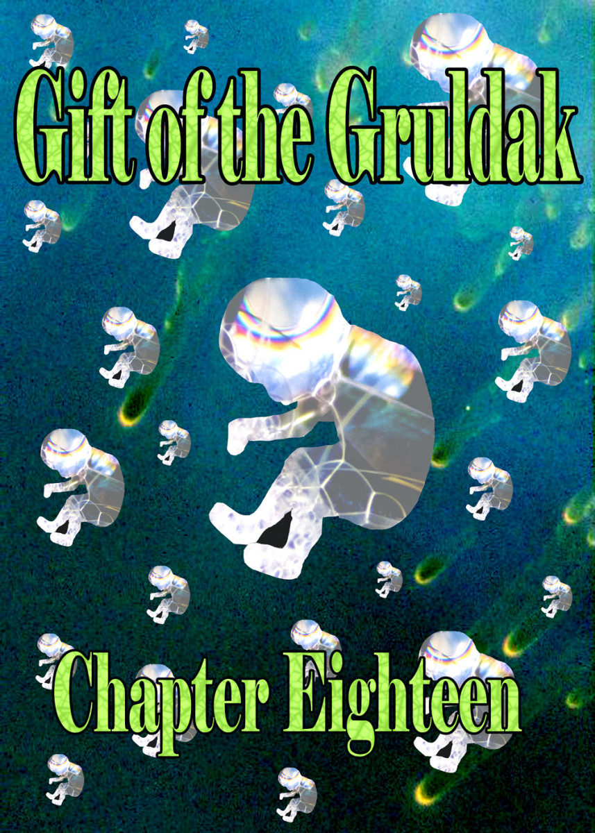 Falling fetuses made of bubbles, a chapter illustration for Gift of the Gruldak, a serialized science fiction novel that's free to read online at HubPages.