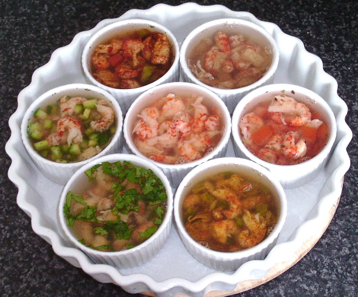 Seven different versions of potted and jellied crayfish tails