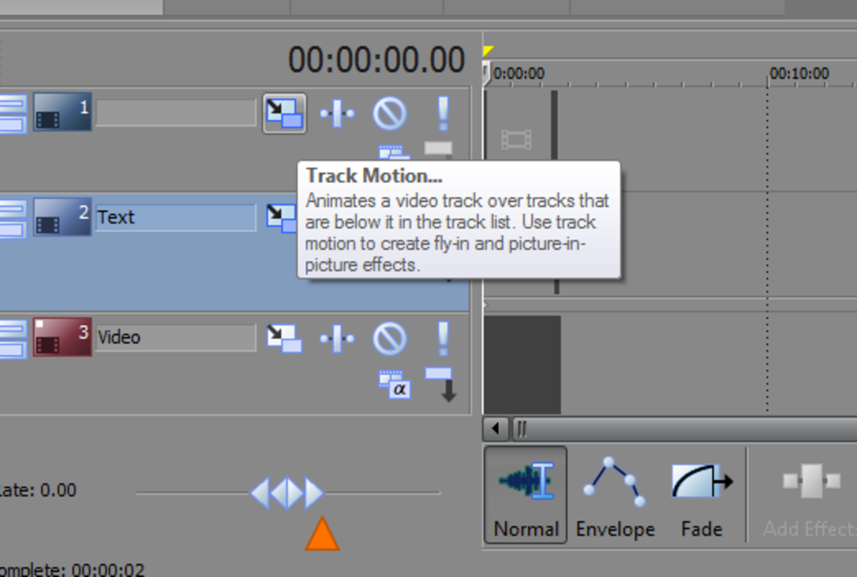 The 'Track Motion' button in Sony Movie Studio Platinum. This option allows you to move all objects around on a single track.