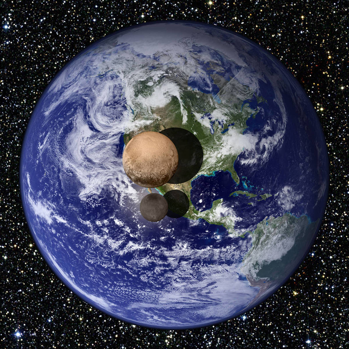 Pluto and Charon compared to Earth. Side by side, they'd fit inside the United States.