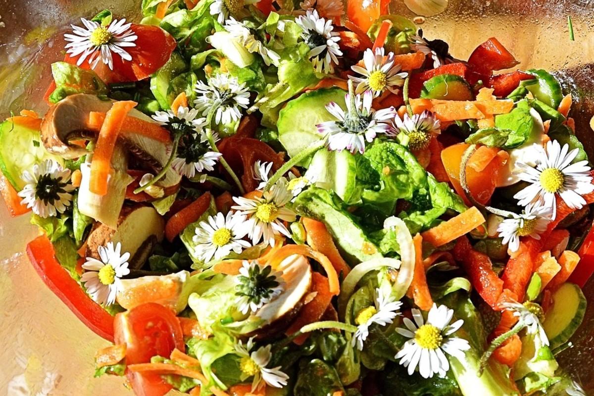 Flowers in a garden salad