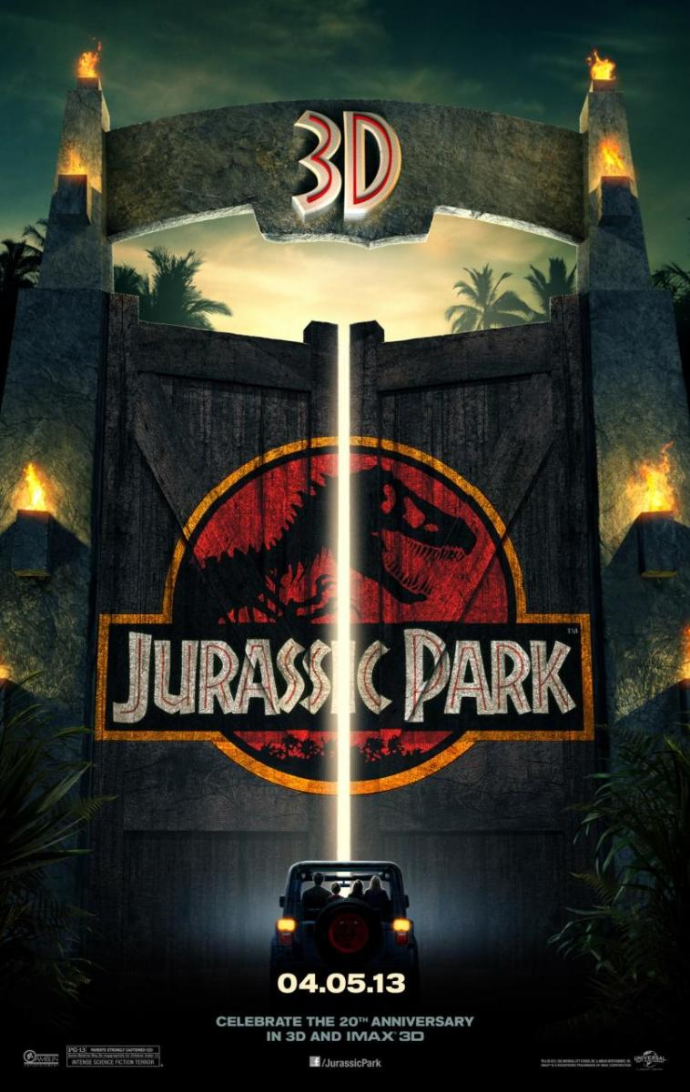 "Promotional poster for the 3D re-release of ""Jurassic Park"""