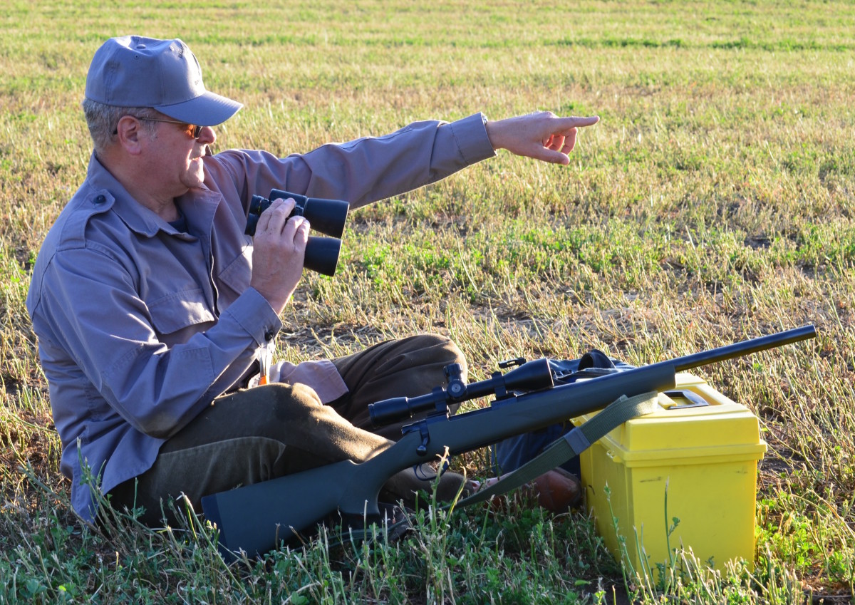 Ed Palumbo scans an alfalfa field for ground squirrels and jackrabbits.