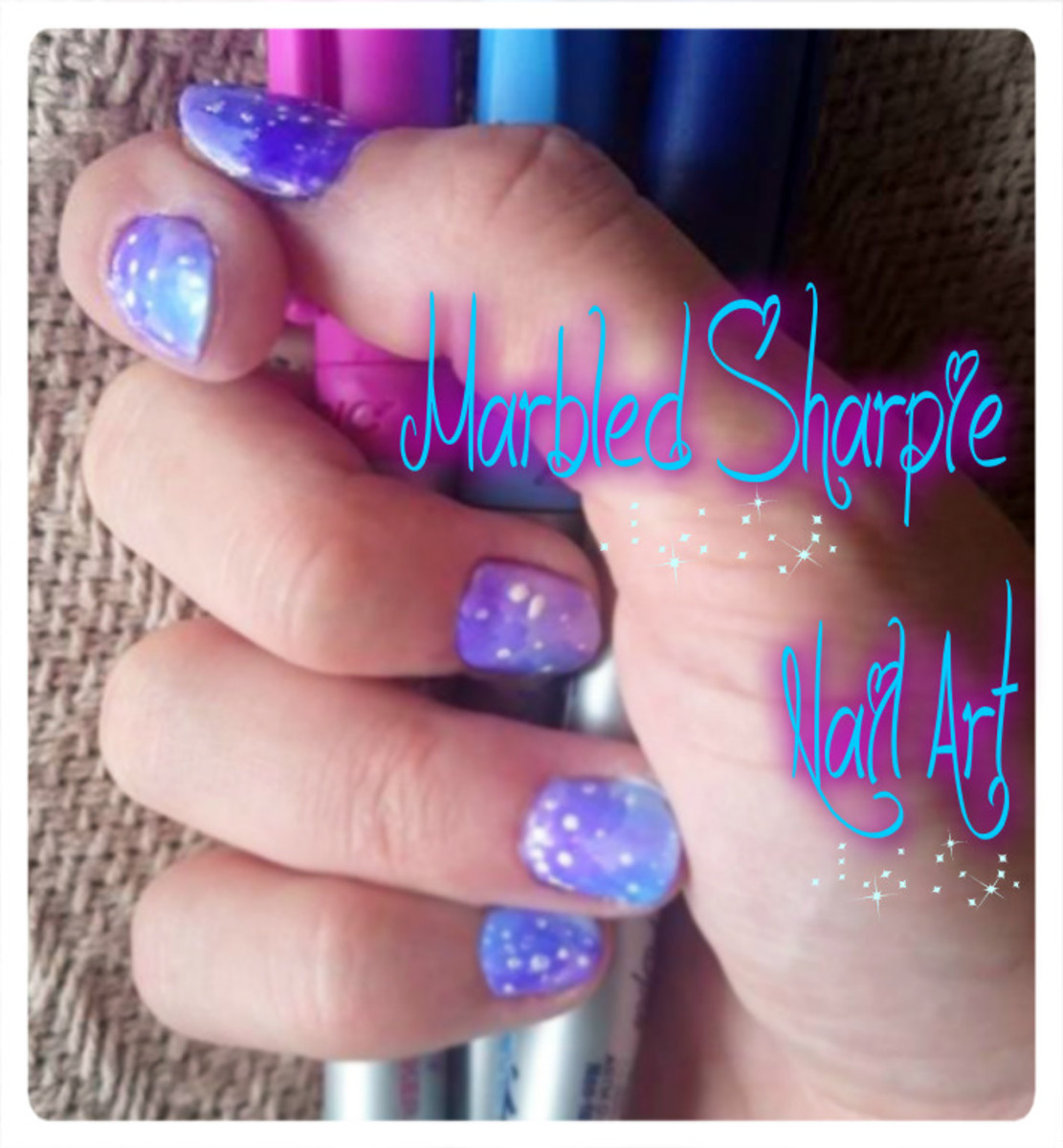 Marbled nails using sharpies and rubbing alcohol