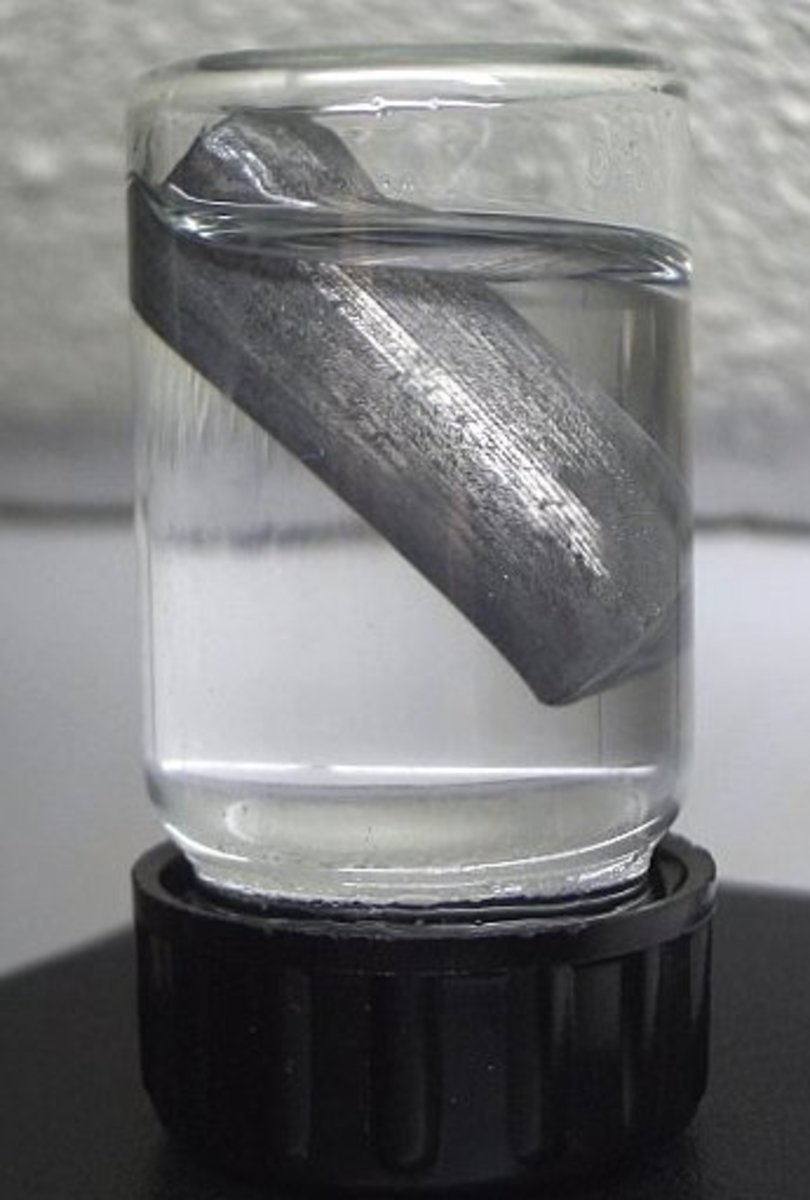 The very light metal lithium in oil