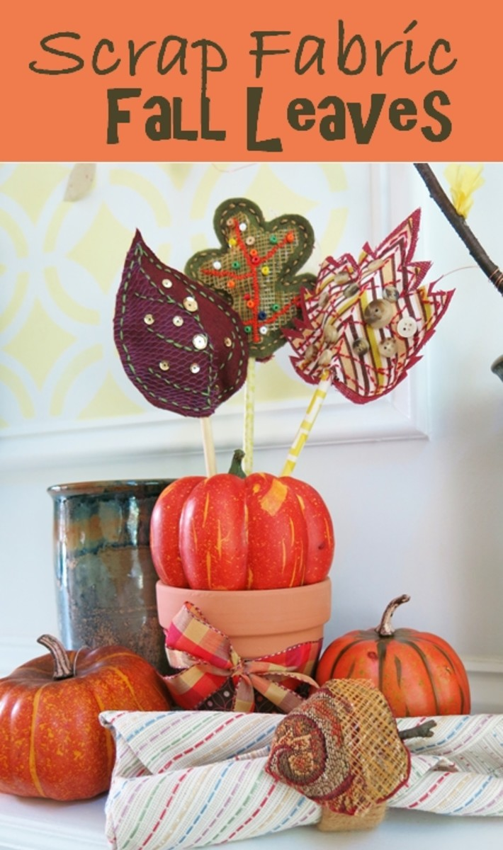 DIY Craft Tutorial:  Scrap Fabric Fall Autumn Leaves Table Decoration and Napkin Rings