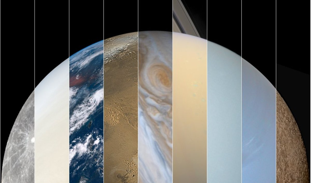True-Color solar system collage: Mercury, Venus, Earth, Mars, Jupiter, Saturn, Uranus, Neptune, Pluto. (Wish I could add Ceres and Eris, but we don't yet have hi-res color photos of them.)
