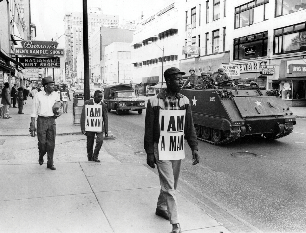 On March 29, 1968, more than 3,800 National Guard troops moved into Memphis after rioting and looting, the day before, left historic Beale Street and Main Street cluttered with broken glass and bricks.