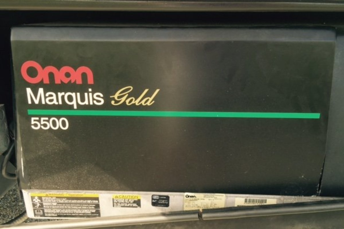 A standard Onan Model 5500 RV gas-powered generator.