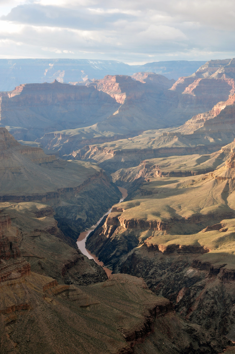 View of the Colorado River flowing through the Grand Canyon.