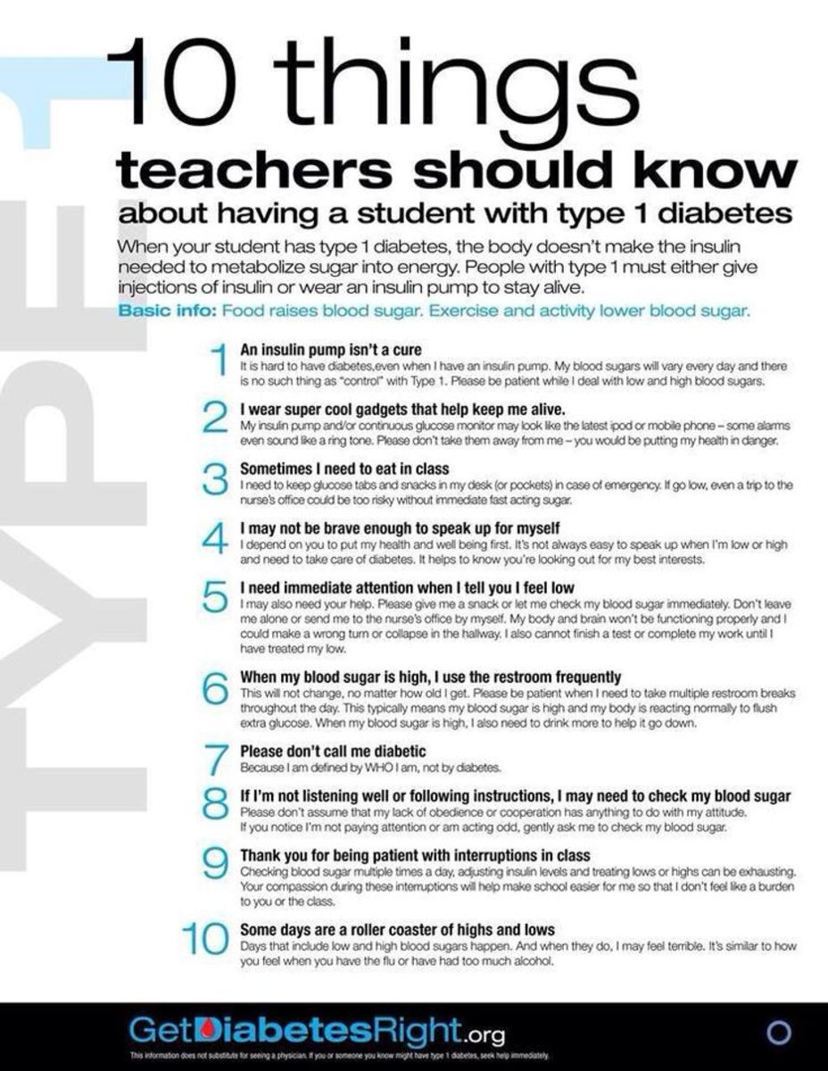 School Supplies and Teacher Information for Your  Type 1 Diabetes Child