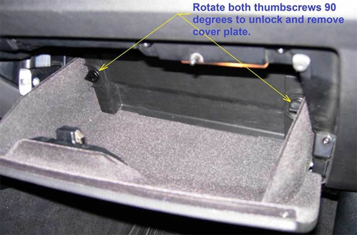 The location of the fuse box on a BMW.