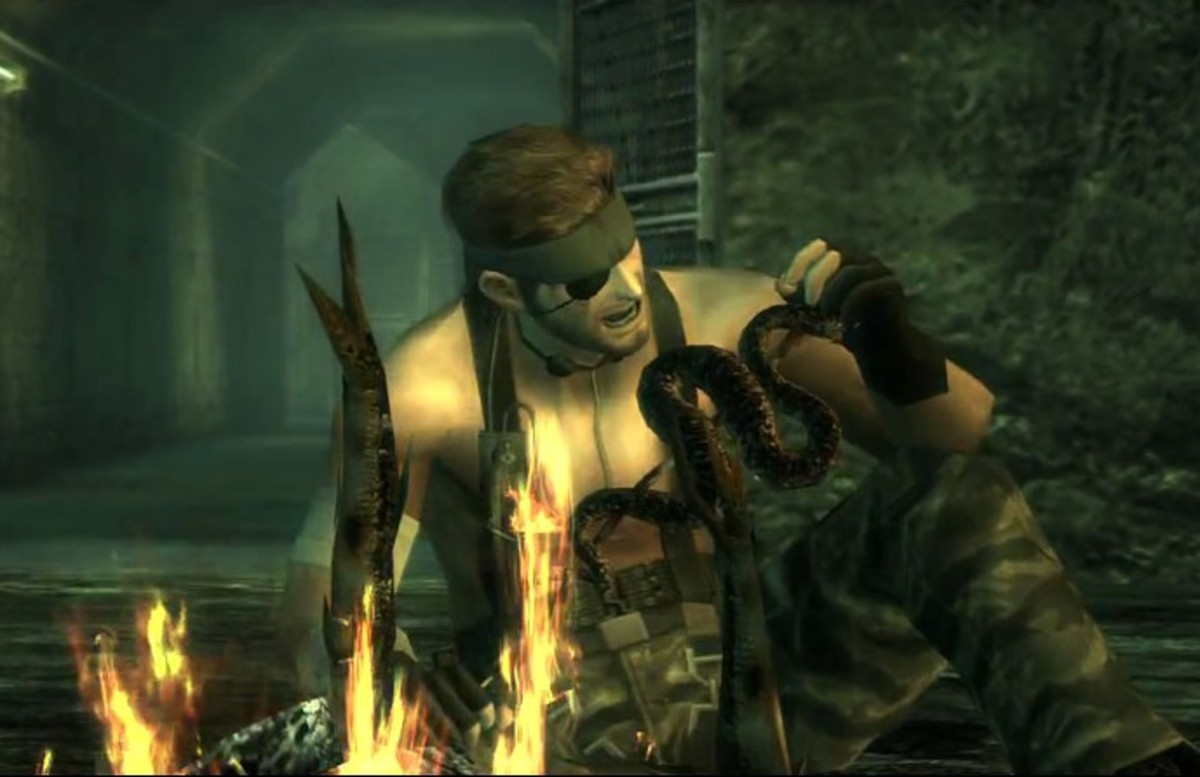 Snake eating a snake in MGS3