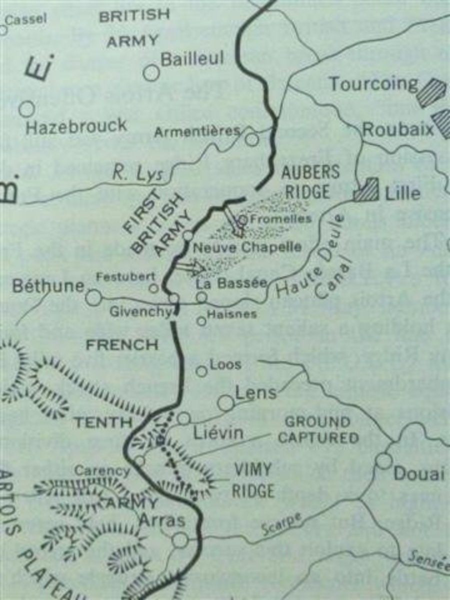 Map shows planned pincer attack by British 1st Army May 9th, 1915. German salient can also be seen near Vimy Ridge.