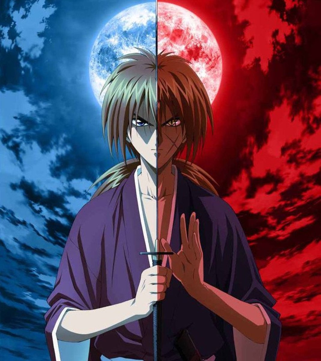Kenshin (left) and his Battosai form (right)