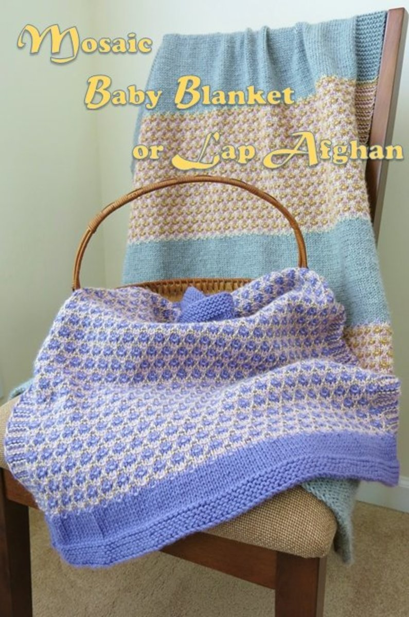 This mosaic knitting pattern includes directions for both a baby blanket and an adult-sized lap afghan.