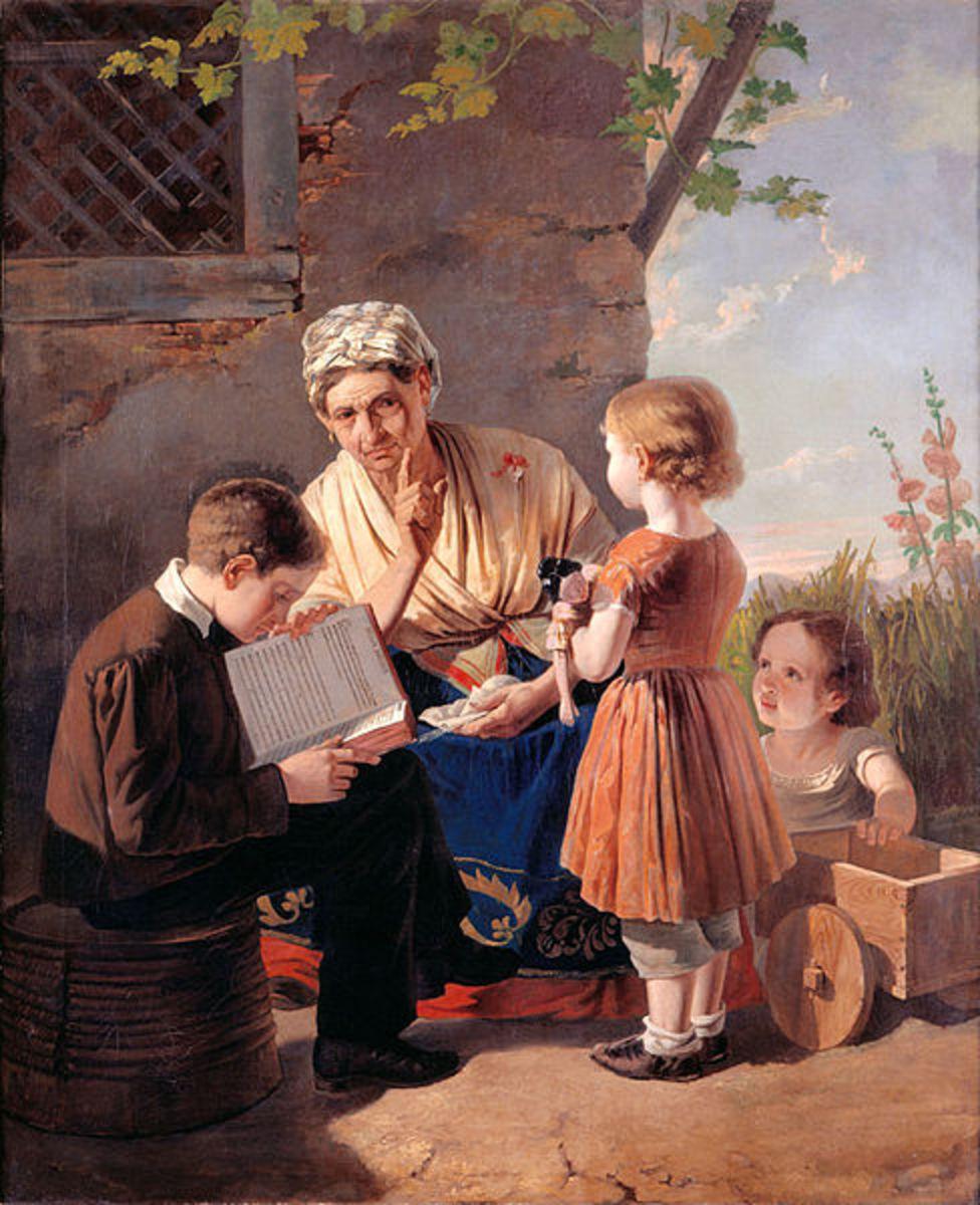 Grandmother's Scolding.  By António José Patrício (1827-1858)