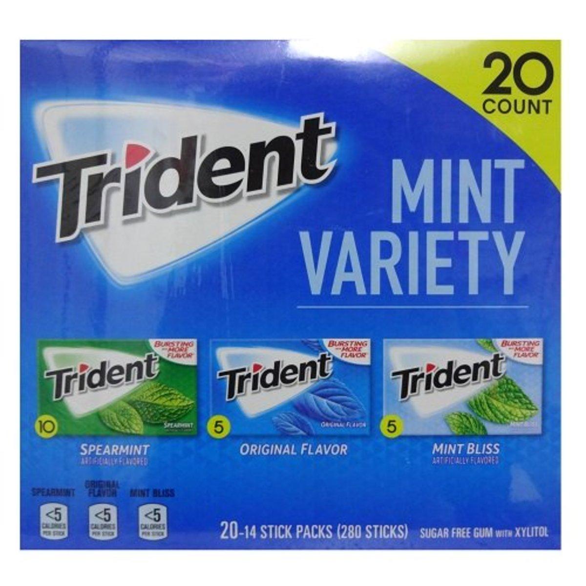 Different Trident mint flavors