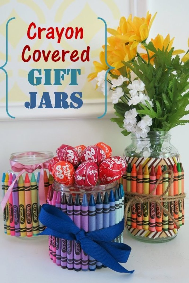 DIY Crafts:  How to Make Crayon Covered Jars to Use as Fun Gifts, Party Favors, and Table Decorations